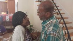 Aunt Nettie and Uncle Charlie seeing each other for the first time in years.